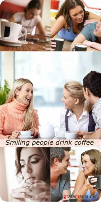Stock Photo: Smiling people drink coffee