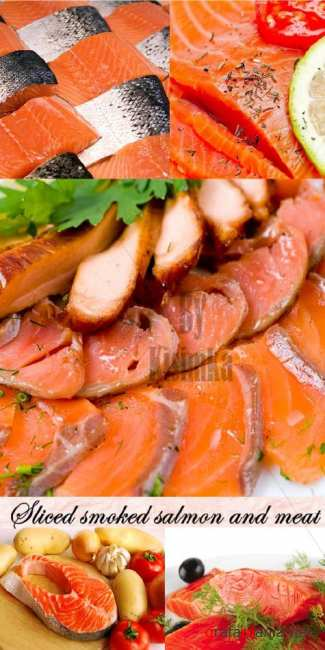 Stock Photo: Sliced smoked salmon and meat