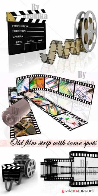 Stock Photo: Old film strip with some spots