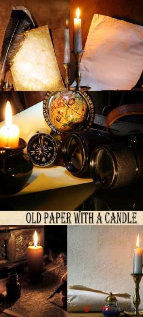 Stock Photo: Old paper with a candle