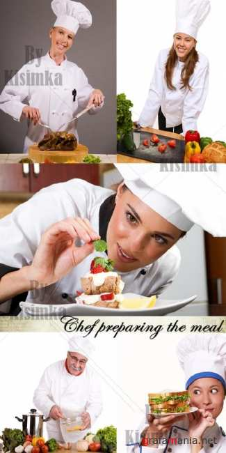 Stock Photo: Chef preparing the meal