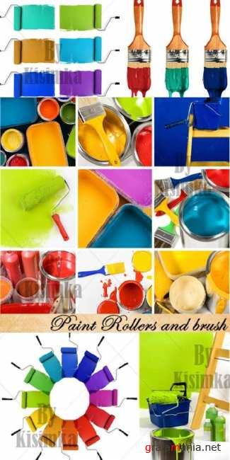 Stock Photo: Paint Rollers and brush