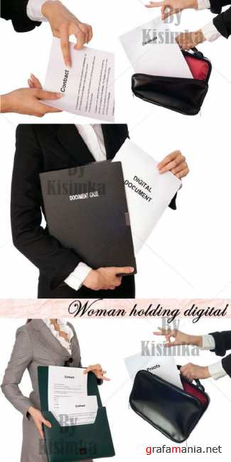 The woman with the contract in hands (Woman holding digital)