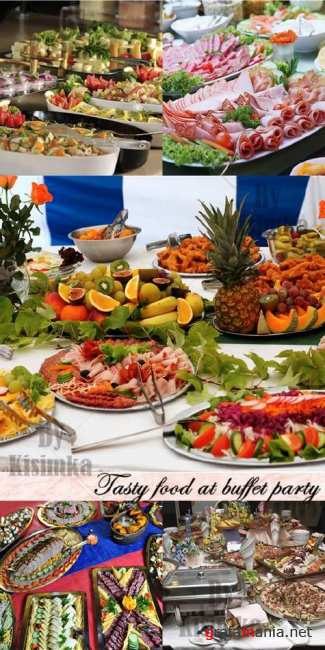 Stock Photo: Tasty food at buffet party