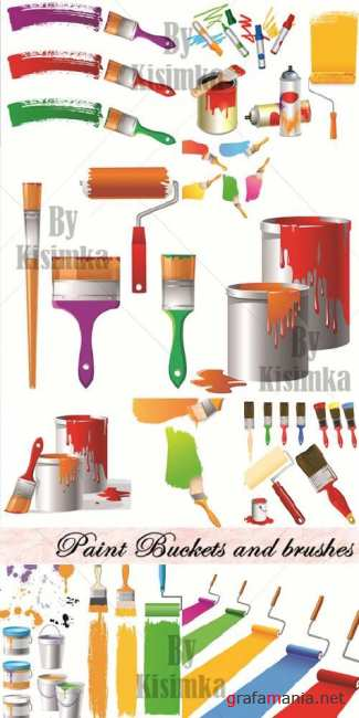 Stock Vector - Paint Buckets and brushes