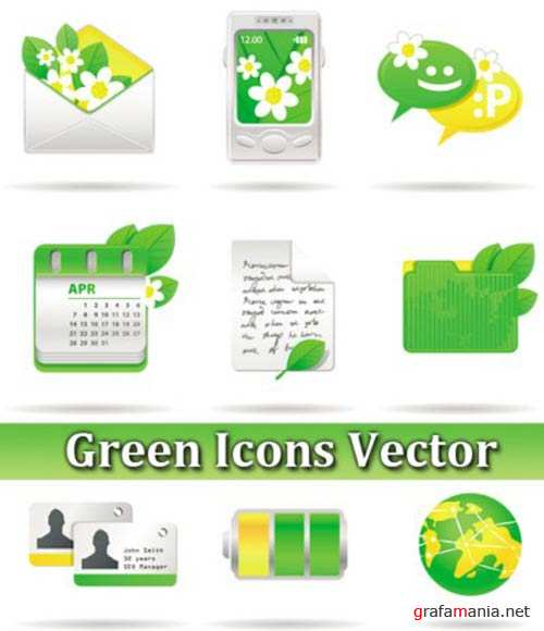 ������� ������ � ������� / Green Icons Vector
