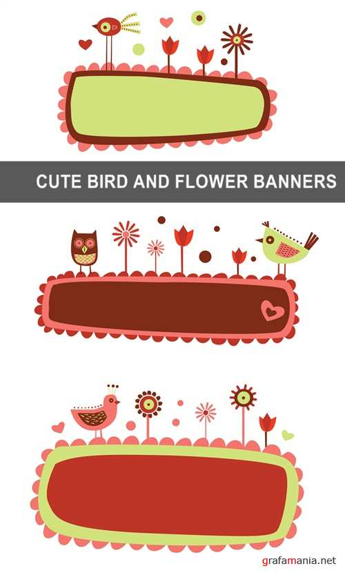 Cute bird and flower banners