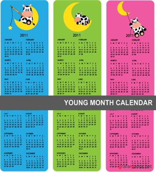 Young month calendars