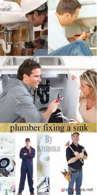 Stock Photo: Plumber fixing a sink