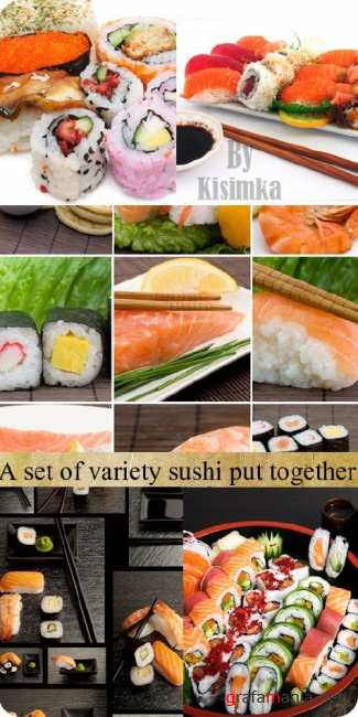 Stock Photo: A set of variety sushi put together