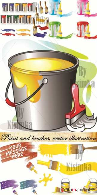 Paint and brushes, vector illustration