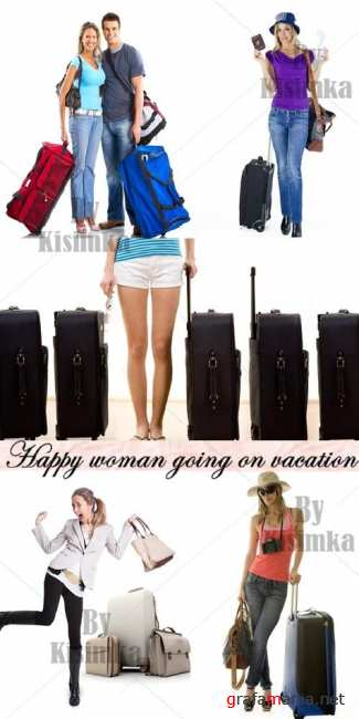 Stock Photo: Happy woman going on vacation