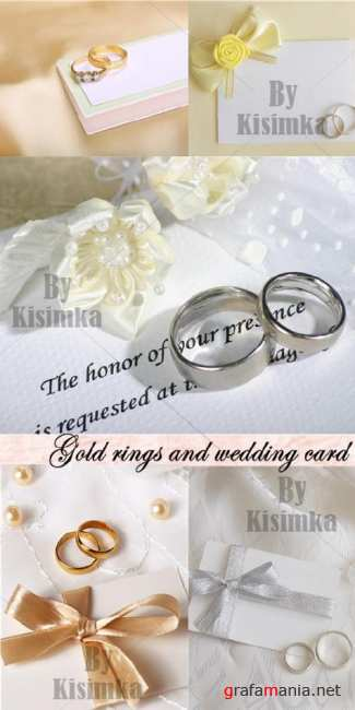 Stock Photo: Gold rings and wedding card