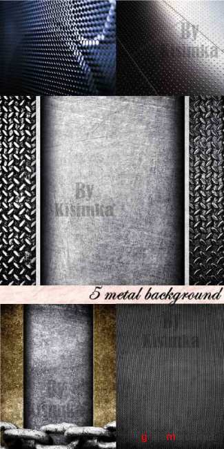 Stock Photo: 5 metal background