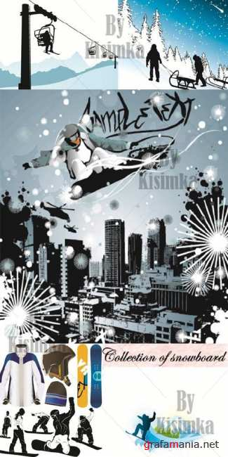 Collection of snowboard vector