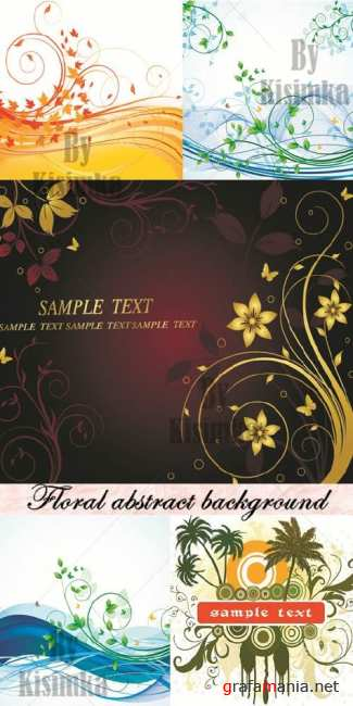 Stock vector: Floral abstract background