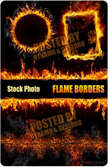UHQ Stock Photo - Flame Border