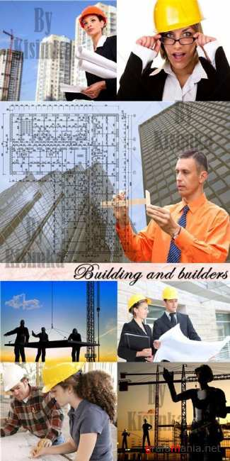 Stock Photo: Building and builders