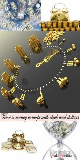 Stock Photo: Time is money concept with clock and dollars