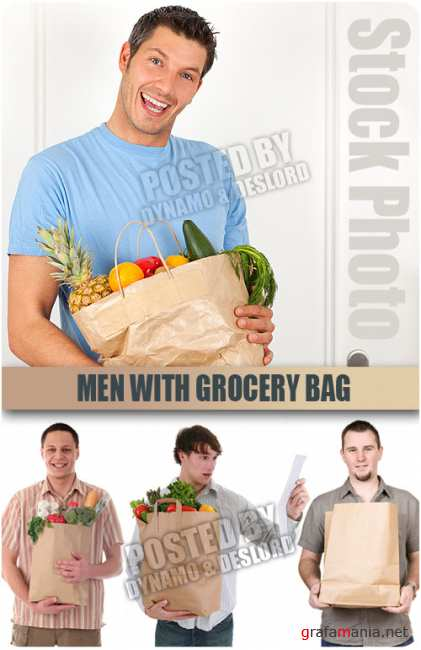 UHQ Stock Photo - Men with grocery bag