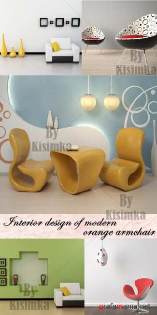 Stock Photo: interior design of modern orange armchair