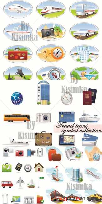 Travel icons symbol, vector collection 2