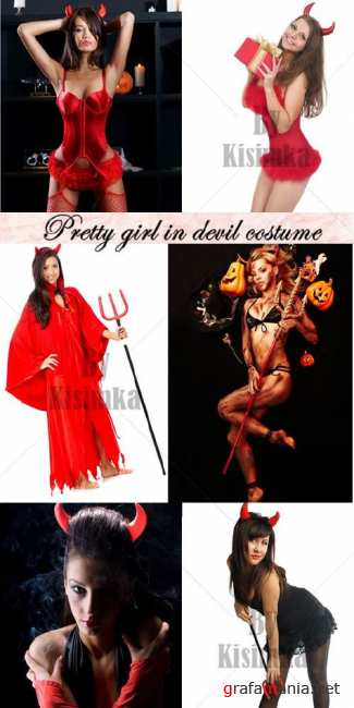 Stock Photo: Pretty girl in devil costume