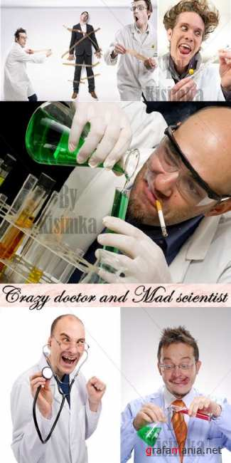 Stock Photo: Crazy doctor and Mad scientist