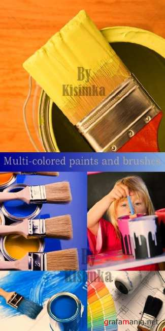 Stock Photo: Multi-colored paints and brushes