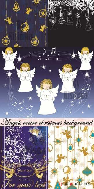 Stock vector: Angels vector christmas background