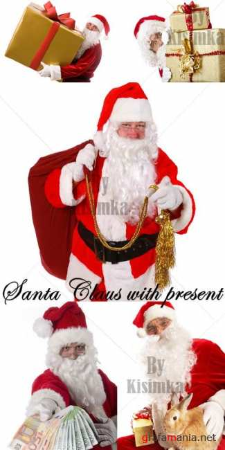 Stock Photo: Santa Claus with present
