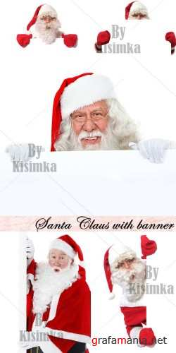 Stock Photo: Santa Claus with banner