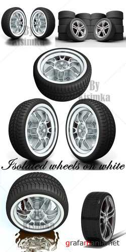 Stock Photo: Isolated wheels on white