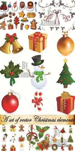 A set of vector Christmas elements collection 2