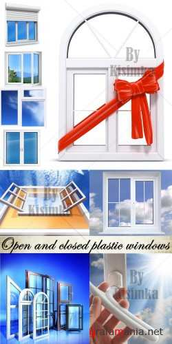 Stock Photo: Open and closed plastic windows