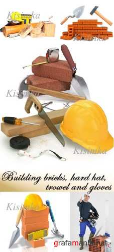 Stock Photo: Building bricks, hard hat, trowel and gloves