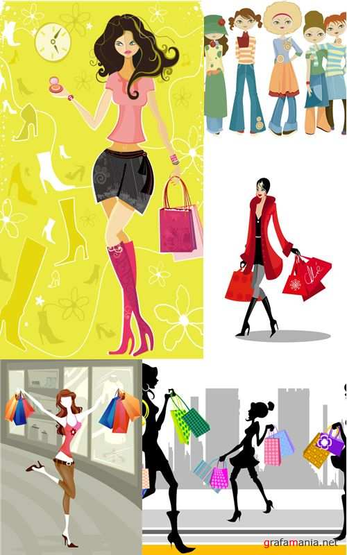 Vector shopping girls