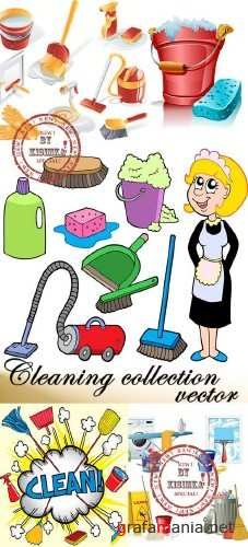 Stock: Cleaning collection vector