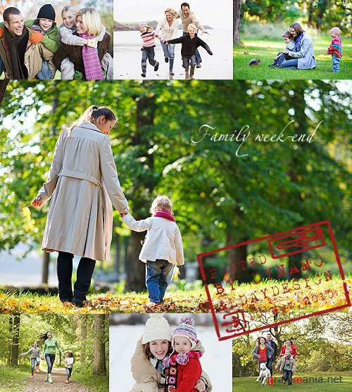 Stock Photo - Happy family outdoors in autumn and winter season