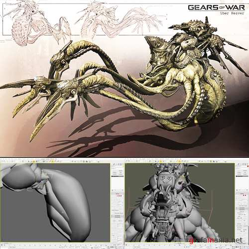Gears Of War Creature Design in 3Ds MAX and Photoshop