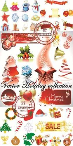 Vector. New year and Christmas Holiday collection