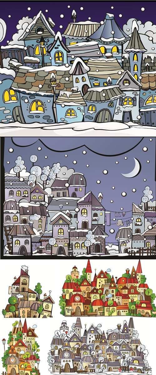 Postcard with cartoon winter