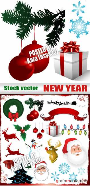 New Year vector objects