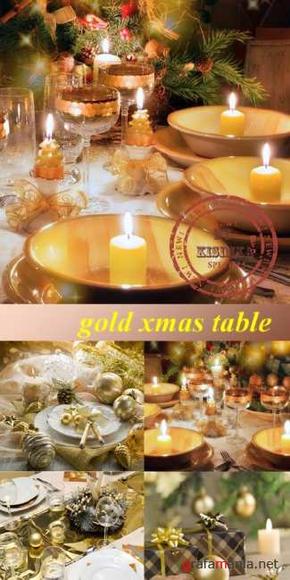 Stock Photo: Gold xmas table