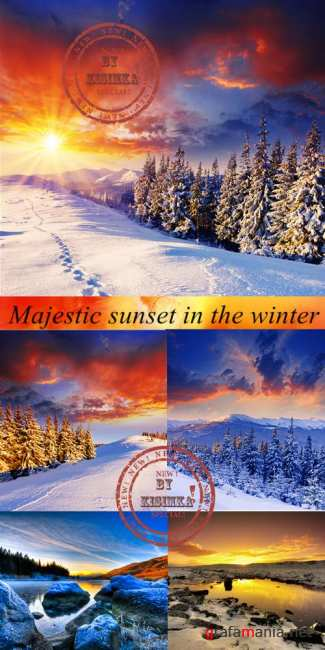 Stock Photo: Majestic sunset in the winter