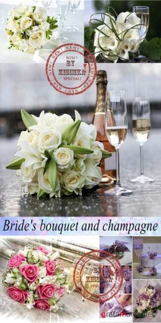 Stock Photo: Bride's bouquet and champagne