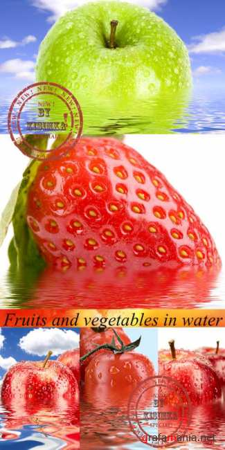 Stock Photo: Fruits and vegetables in water
