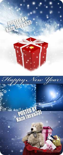 New Year blue backgrounds & gift box