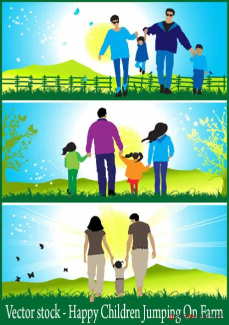 Vector stock - Happy Children Jumping On Farm