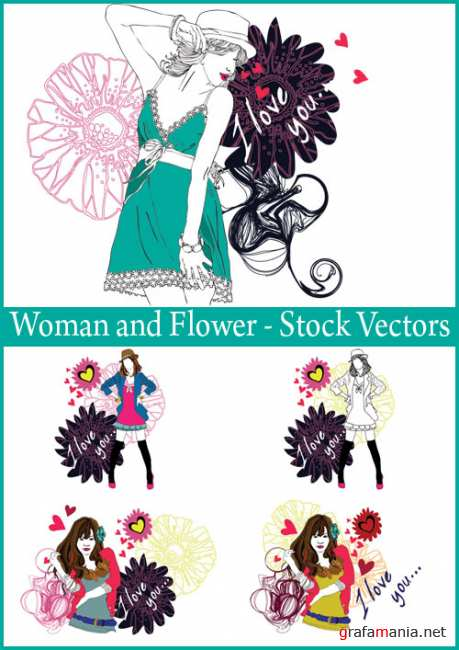 Woman and Flower - Stock Vectors